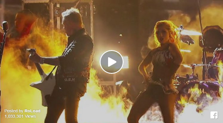 screenshot of RoLoad's Facebook video of Metallica and Lady Gaga's Grammy performance